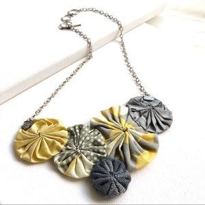 Statement Handmade Fabric Floral Necklace